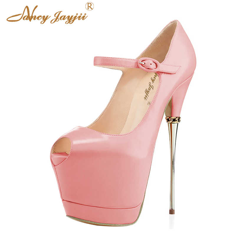 a518aac5d273e Pink Black Dancer Women Shoes Pumps Mary Janes Ladies Buckle Platform Super  High Heels 17CM Night