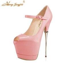 03343a9161b Negro Rosa bailarina zapatos de mujer bombas zapatos señoras hebilla  plataforma tacones altos 17 CM fiesta Peep Toe gran tamaño .