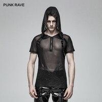 PUNK RAVE New Gothic Sexy Transparent Mesh Casual Men'S T Shirt Cosplay Performance Clothing Visual Kei Men Tees T Shirt Men