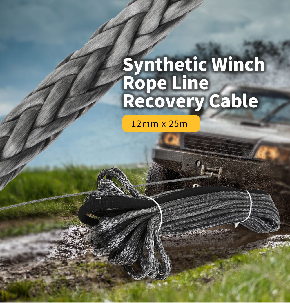 High Strength Synthetic Winch Rope 12mm X 25m Line Recovery Cable Car Wash Maintenance String For 12000-15000 Pound Capstan