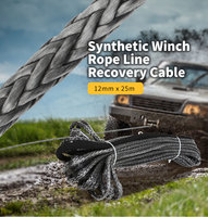 High Strength Synthetic Winch Rope 12mm X 25m Line Recovery Cable Car Wash Maintenance String For 12000 15000 Pound Capstan