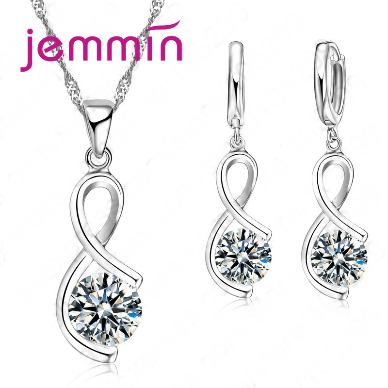 Jemmin Adorable Elegant Irregular Shape Pendant Nacklace Earrings Real 925 Sterling Silver Jewelry For Female GiftsJemmin Adorable Elegant Irregular Shape Pendant Nacklace Earrings Real 925 Sterling Silver Jewelry For Female Gifts