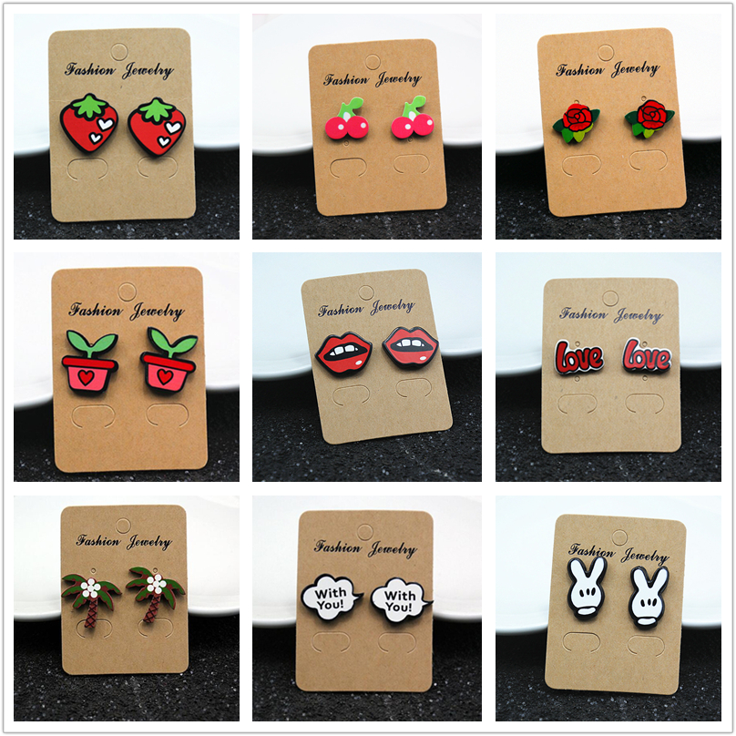 E098 Fashion Jewelry Cute Cartoon Rose Watermelon Cherry Stud Earrings For Women And Girls Creative Art Fruits Plants Earrings