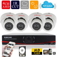 NEW ARRIVAL SUNCHAN 4CH HD 720P AHD DVR 1080P Output 1MP CCTV Security 24IR Led IR