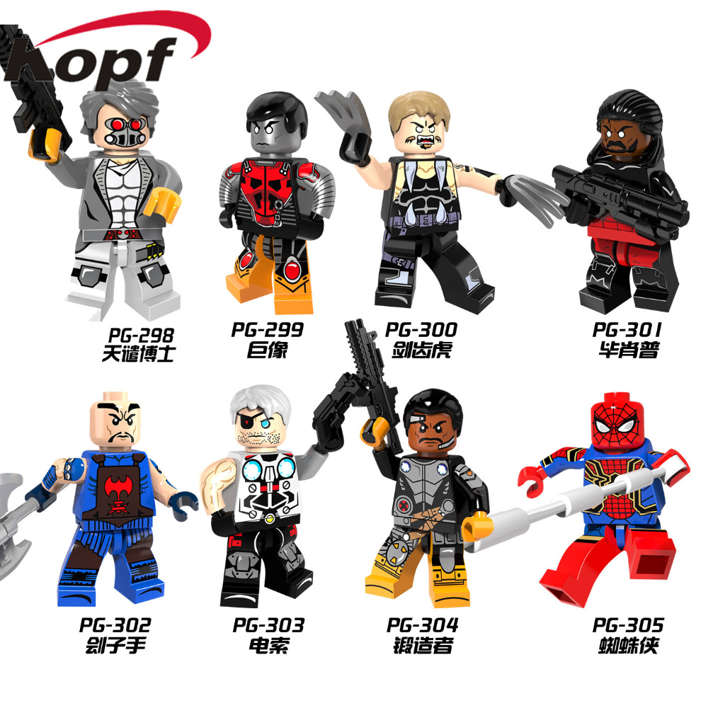 Single Sale Super Heroes X-men Saber-toothed Pogue Shadowcat Bishop Spiderman Colossus Forge Building Blocks Kids Toys PG8083