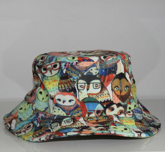 28bd21762f4 Fashion Cool Women Men Sun Hat Black Fishing Hats New Galaxy Summer Bucket  Hats hip hop Cute cartoon owl bucket hat