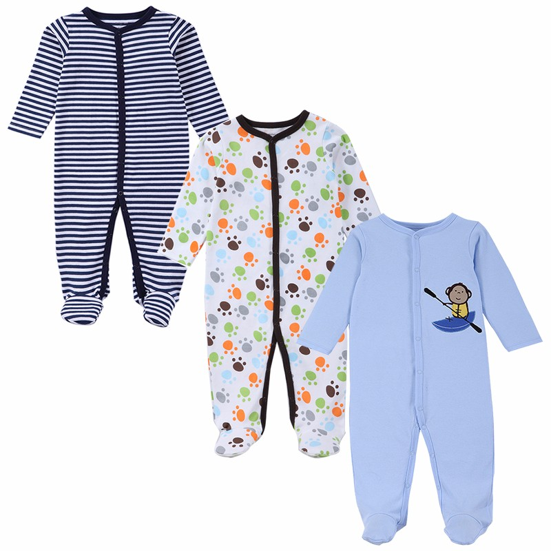 3 PCS Mother Nest Brand Baby Romper Long Sleeves 100% Cotton Baby Pajamas Cartoon Printed Newborn Baby Girls Boys Clothes (2)