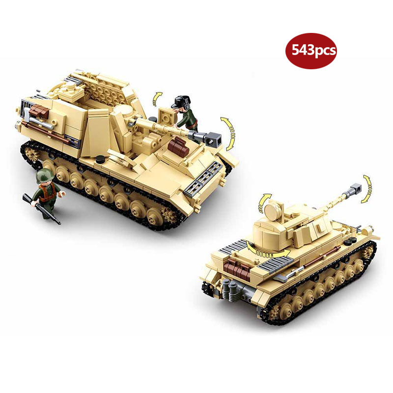 Military Series WW2 Half Tracked Personnel Carrier Battle Of Stalingrad Panzer IV Building Blocks Toy For Children Gifts