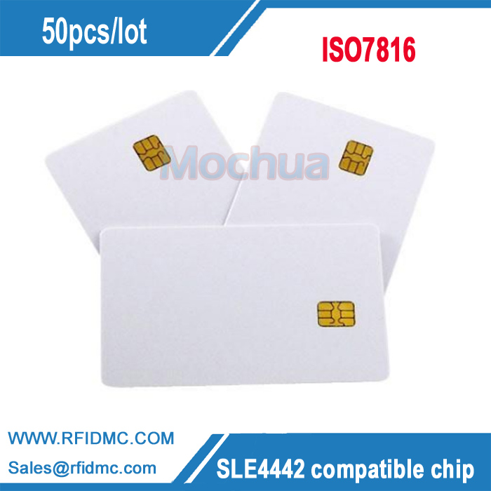 SLE 4442 Chip PVC Smart Card Blank IC Contact IC Cards ISO7816 20pcs lot contact sle4428 chip gold card with magnetic stripe pvc blank smart card purchase card 1k memory free shipping