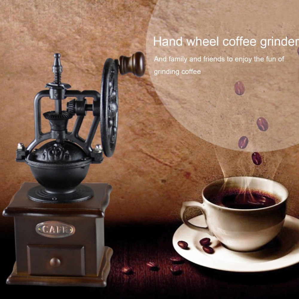 ICOCO Manual Coffee Grinder Vintage Style Wooden Coffee Bean Mill Grinding Ferris Wheel Design Hand Coffee Maker MachineICOCO Manual Coffee Grinder Vintage Style Wooden Coffee Bean Mill Grinding Ferris Wheel Design Hand Coffee Maker Machine