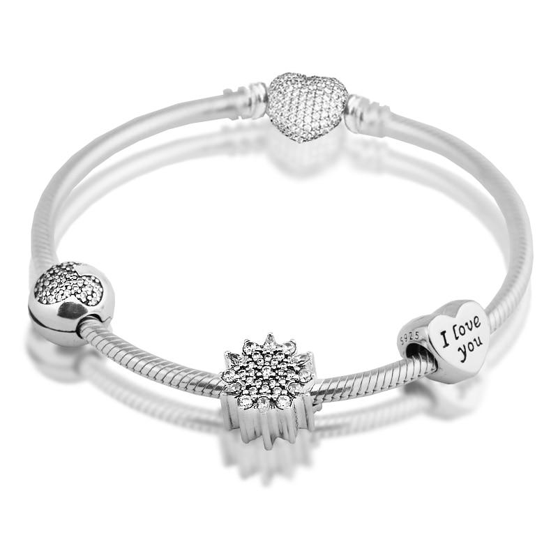 Pave Heart Clasp Bracelets With 3pcs Beads 100% 925 Sterling Silver CZ Charm DIY Fine Jewelry Making Free Shipping new style bracelets mens 10mm micro pave black cz square beads bracelets