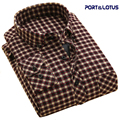 Port&Lotus Men Thick Shirt New Casual Plaid Striped Patchwork Down Long Sleeve Mens camisa masculina chemise homme 182 wholesale