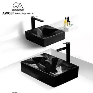 Image 2 - アート浴室シンク 560*355*120 ミリメートルマットブラックセラミック船洗面所のシンク手作り洗浄槽ボウル現代デザイン AM903