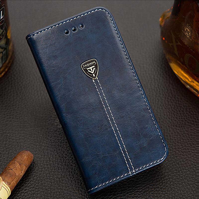 AMMYKI 5.0 'Para Nokia lumia 640 lte caso da aleta de couro pu tampa do telefone de volta de Metal triângulo 5.0 «Para microsoft lumia 640 lte caso