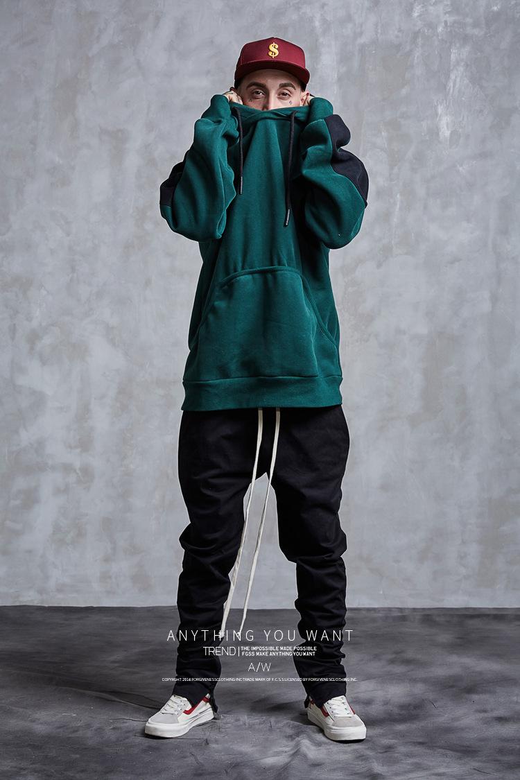 Aolamegs Hoodies Men Side Striped Hood High Street Pullover Cotton Fashion Hip Hop Streetwear Casual Big Pocket Hoodie Autumn (20)