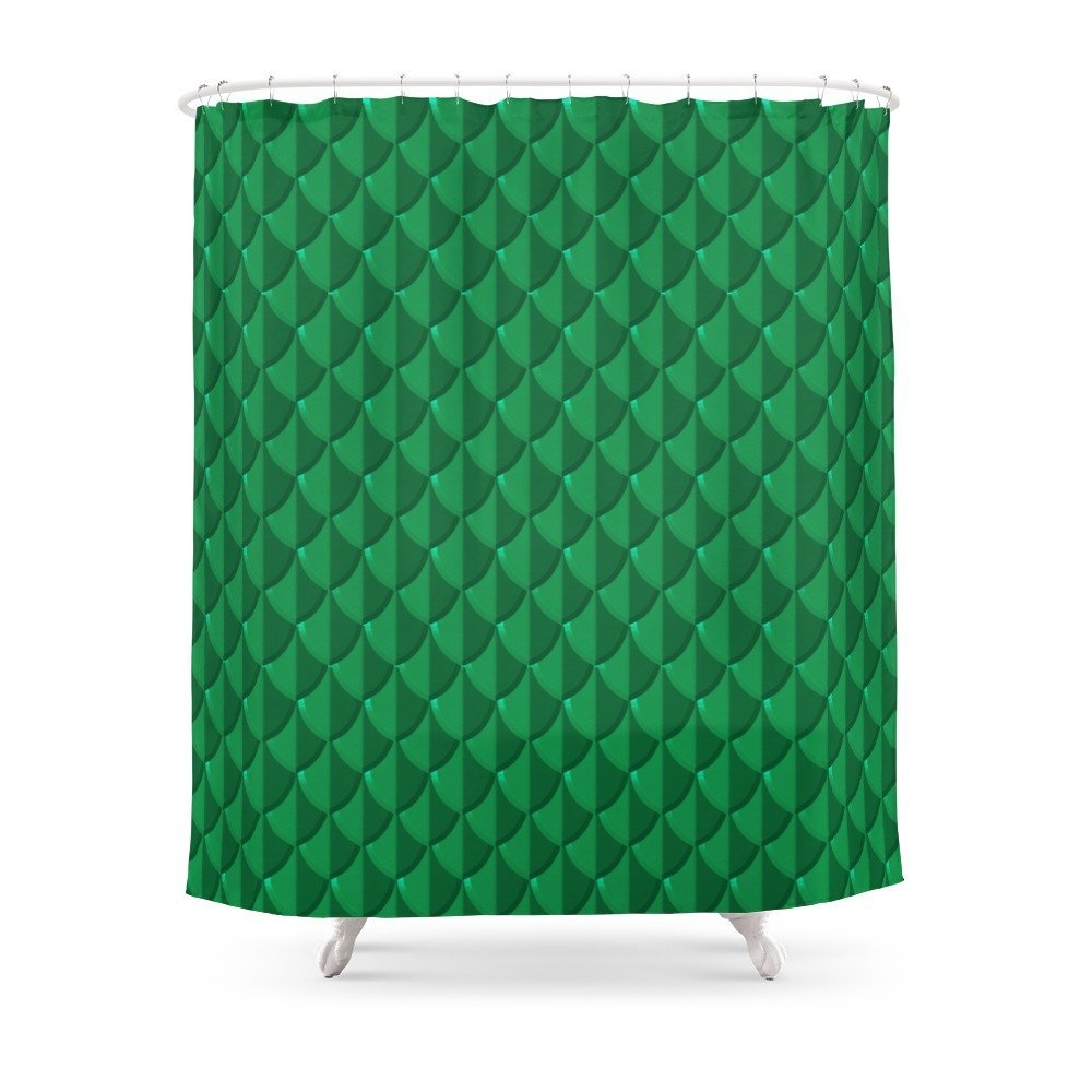 Jade Dragon Scales Shower Curtain Custom Curtain For Bathroom Waterproof Polyester