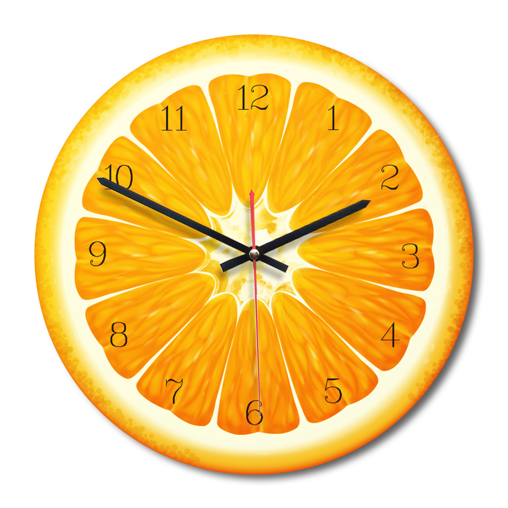 Creative Lemon Fruit Printed Wooden Digital Wall Clock Silent Watch Home Living Room Hanging Clock Decoration