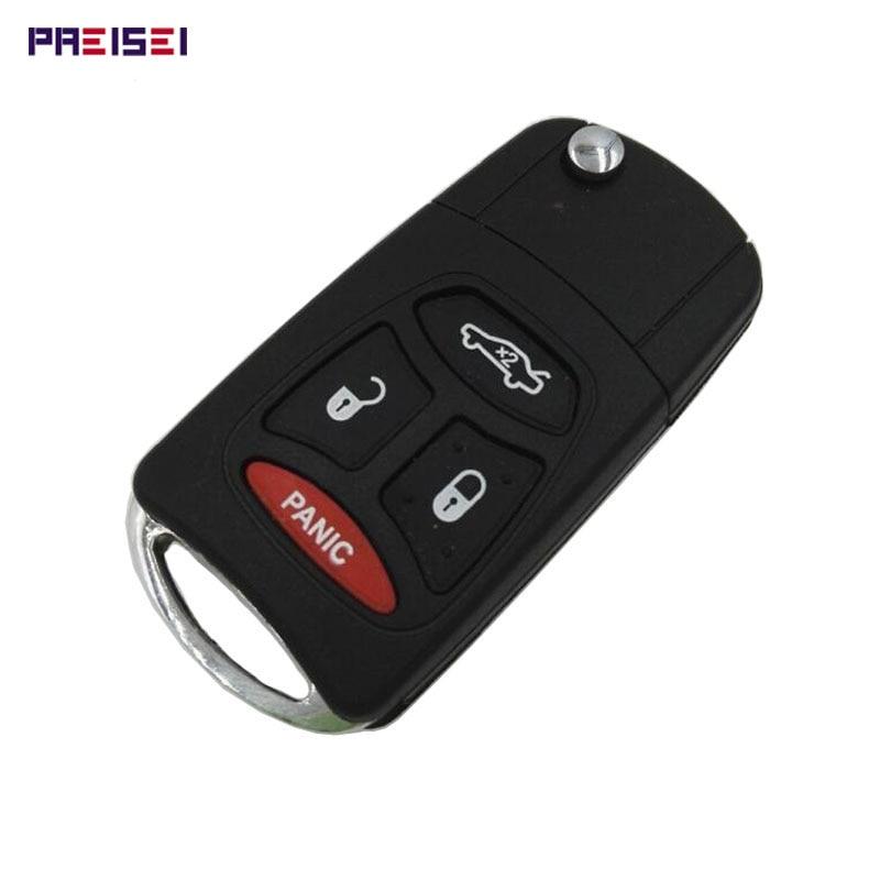 PREISEI 5 шт./лот 3 + 1 кнопки автомобильный модифицированный дистанционный флип-чехол для Chrysler брелок для замены