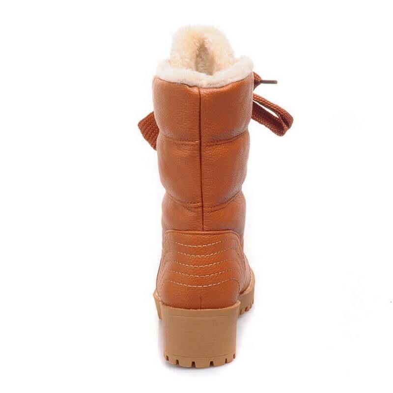 Talons Mi Fourrure Moitié Femmes Boot Botas Carrés Bottes noir Dentelle jaune Beige Courtes Gladiateur Bota Chaude Hiver mollet up Chaussures Épaississent Feiyitu Taille 4wvIpq8npW