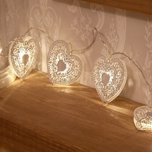 White Metal Heart Battery Fairy String LED Lights with Timer, Warm White LED by Festive Lights