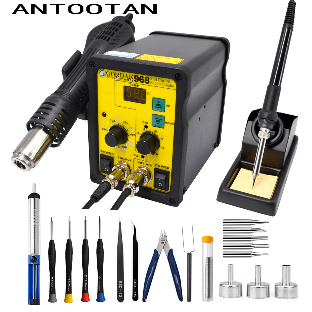 220V 700W EU Plug Rework Soldering Station Thermoregulator Hot Air Desoldering Gun Soldering Iron Welding Tool Kit цена