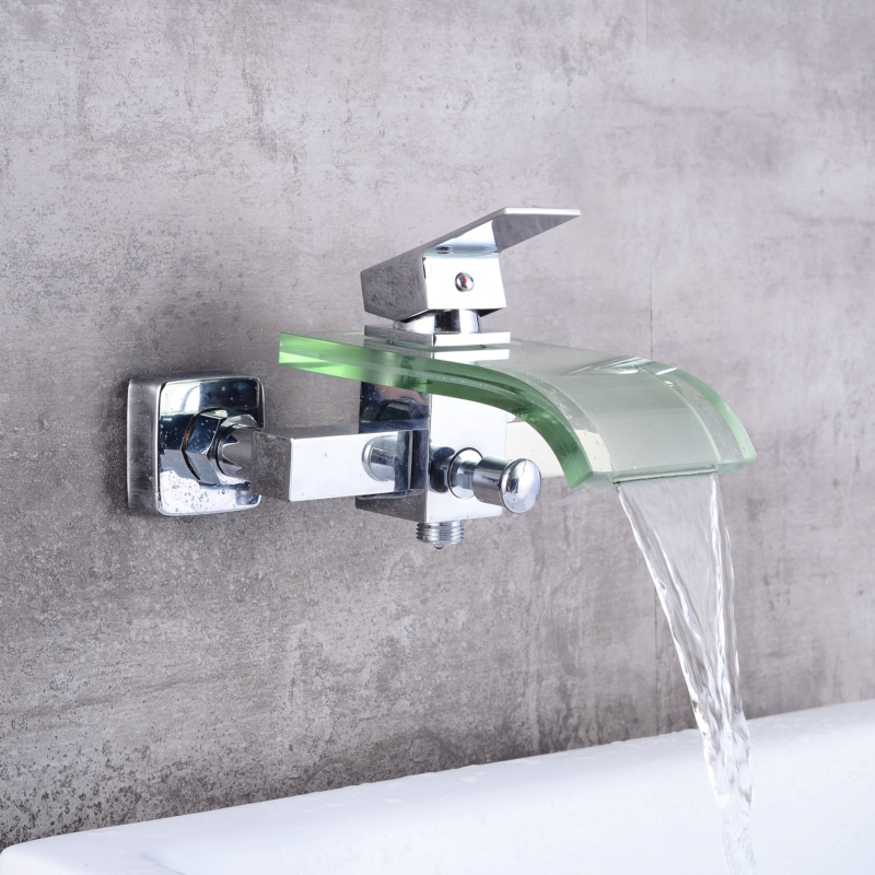 Free shipping modern glass and brass faucet bathroom waterfall bathtub faucet basin tap wall mounted LH