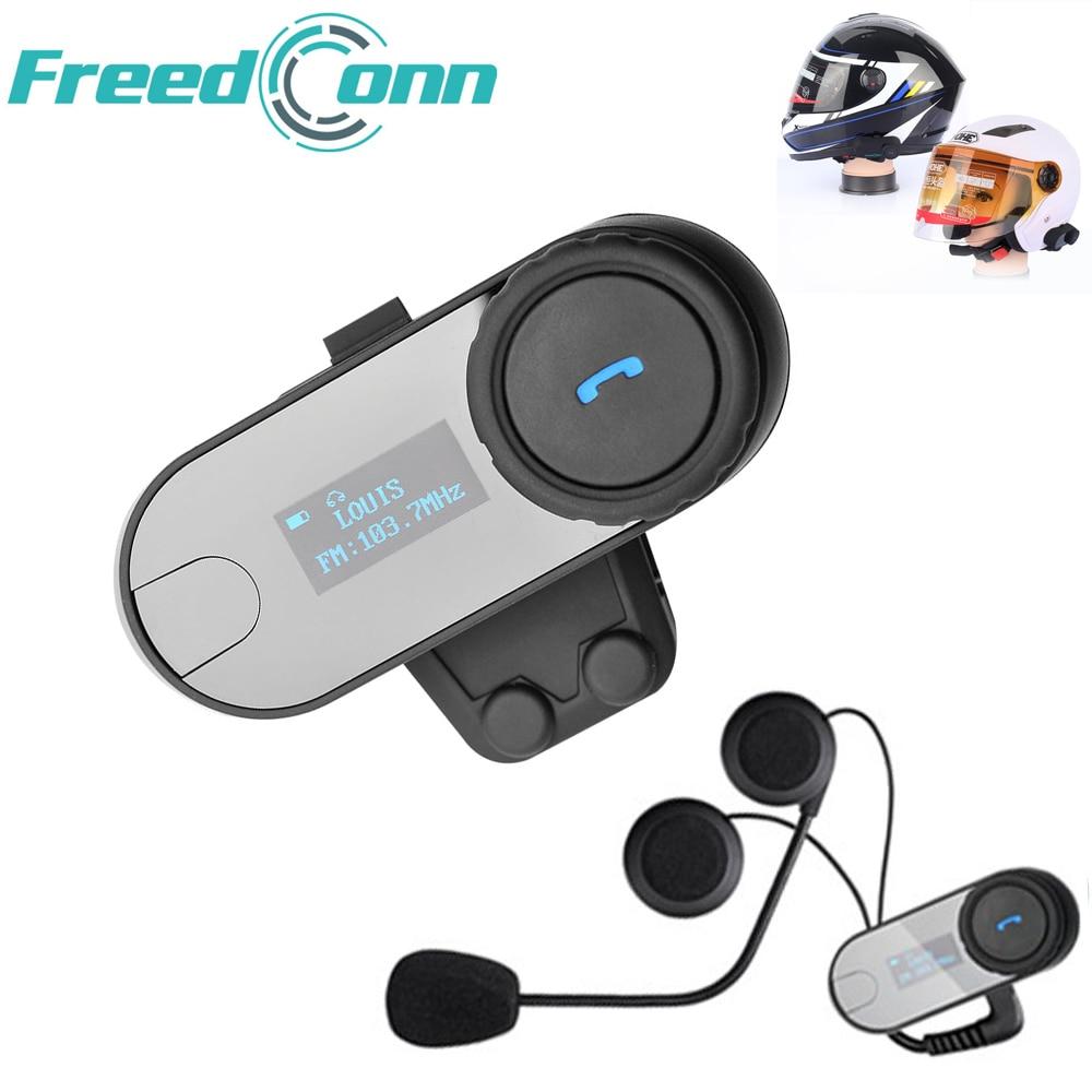 Freedconn LCD Screen Interphone With FM 800m Helmet Hi-Fi Speaker Motorcycle Intercom Bluetooth Wireless Helmet Headsets