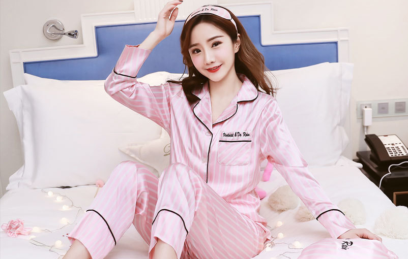 Queenral 7 Pieces Women\'s Pajamas Set Satin Silk Lingerie Sleepwear Pyjamas Set For Woman Home Clothes Nightgown Underwear 2