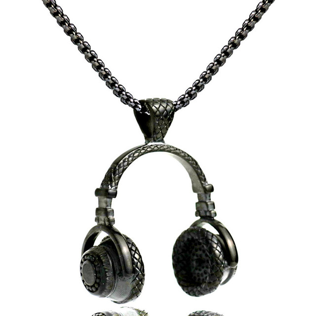 Music headphone pendant necklace men hip hop jewelry stainless music headphone pendant necklace men hip hop jewelry stainless steel chain necklace 2017 cool gifts mens mozeypictures Image collections