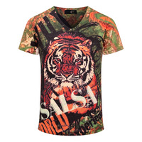 Tiger Printed Casual T Shirt 2015 Fashion Brand Design Blouses Top Tees Summer Short Sleeve Soft