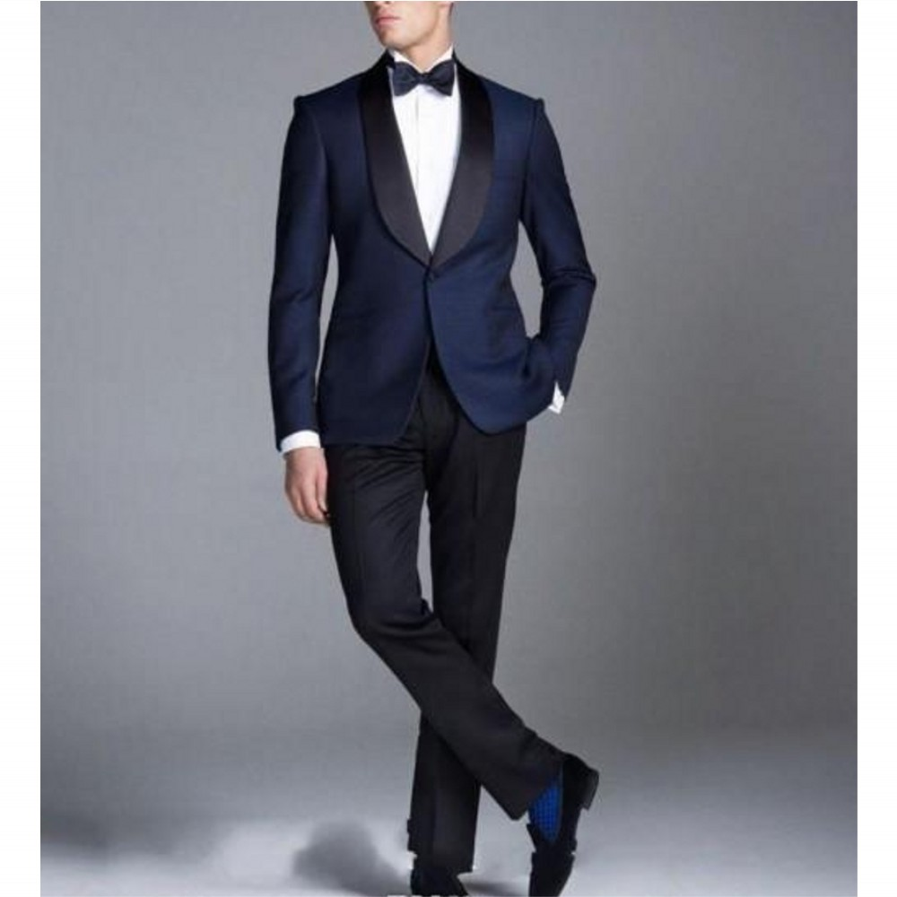 Free Shipping Black Custom Made Men Suit Bow Tie Formal Dress Men's Suits For Men Wedding Suits  Tuxedos(Jacket Pants)Hot Sale