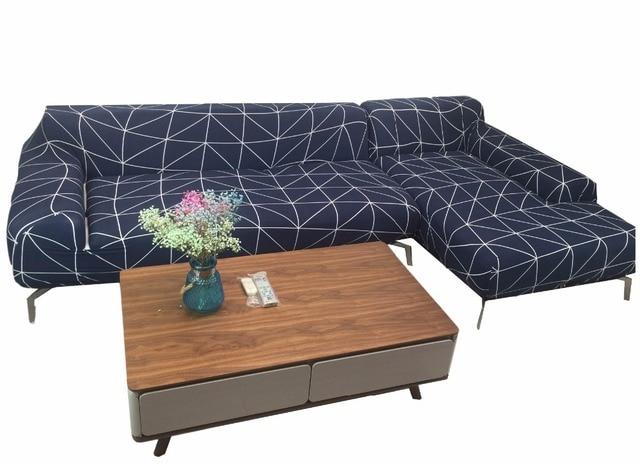 Blauen Streifen Stretch Sofa Abdeckung Für Wohnzimmer 100% Polyester L  Ecksofa Decken Elastischen Couch Sofa