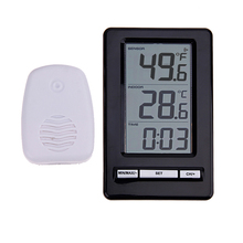 Best price Digital LCD Thermometer Electronic Temperature Meter Weather Station Wireless Indoor Outdoor Tester with Desktop Clock