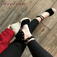 Meotina Summer High Heels Women Sandals Rivets Espadrille Platform Wedges Heel Ankle Strap Shoes Bohemia Sandals Big Size 34 43