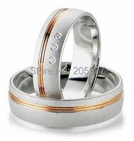 Последние 2014 Дизайн хирургической нержавеющей стали titanium engamgent помолвка обручальные кольца настройки Роза цвет золотистый здоровья