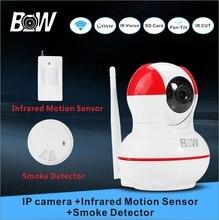 Система Видеонаблюдения Камеры Wi-Fi Ip-камера Беспроводная + Инфракрасный Motion Sensor + Детектор Дыма Сигнализация Безопасности BW12R