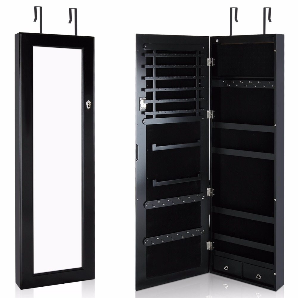 Lifewit lockable full length mirrored jewelry cabinet for Armoire miroir chambre
