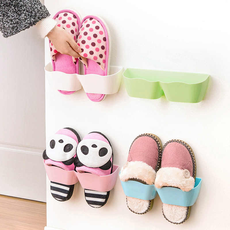 Wall-Mounted Sticky Hanging Shoe Hook Shelf Rack Shoes Holder Storage Hot Plastic Shoe Shelf Stand Shoebox