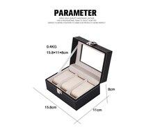 3 Grid Dark Leather Watch Box