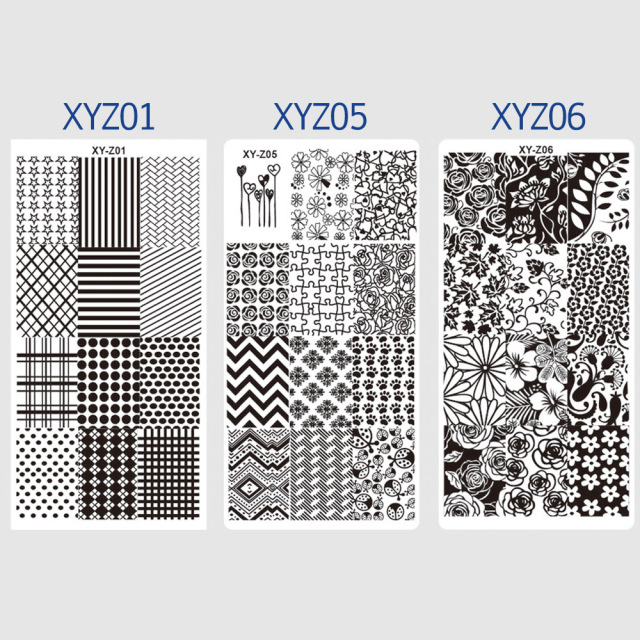 1pcs 12*6cm Rectangle Nail Stamping Template Negative Windmill Flowers Patterns DIY Nail Designs Manicure Stamp Plate JIXYZ01-32