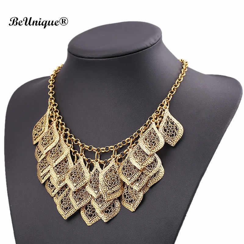 Металлическое ожерелье макси с золотыми листьями многослойное ожерелье-чокер с листьями дерева украшения с подвесками-кисточками вечерние эффектные ожерелья