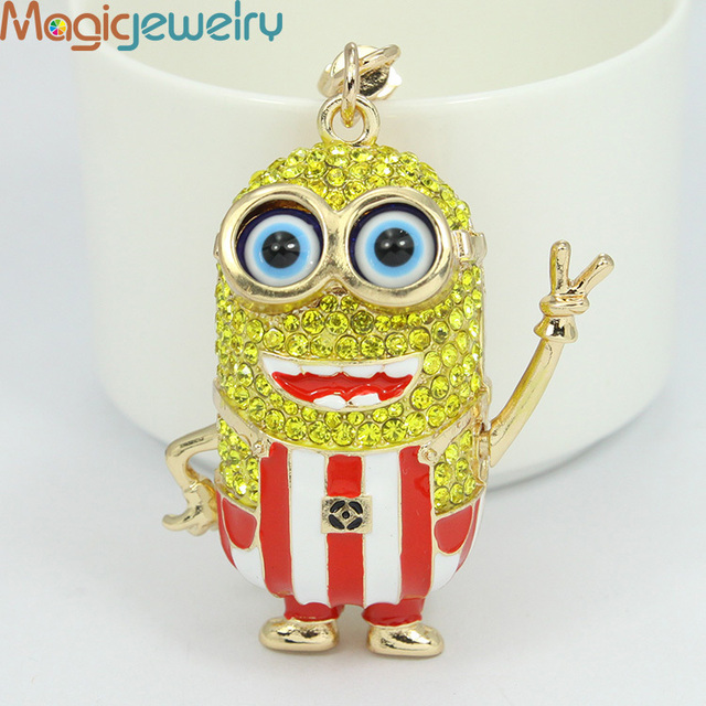 Fashion Rhinestone Glasses Cartoon Character Metal Key chains Keyring Holder  Trinket Fobs for Women Girl Gift Souvenir Jewelry 8159bb1d9
