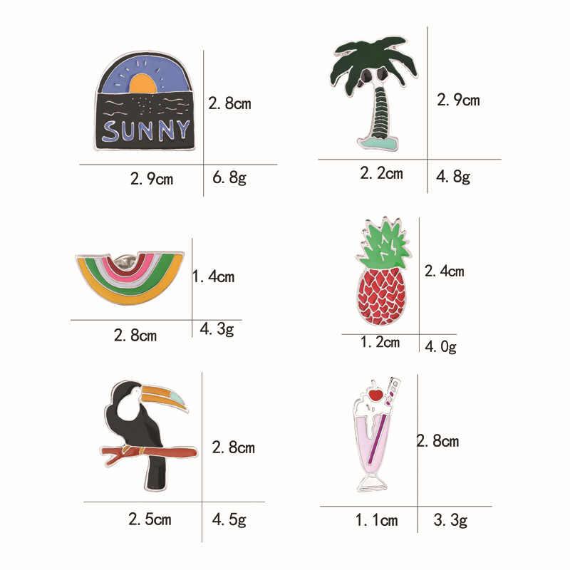 Kualitas Tinggi Fashion dan Kreatif Burung Bros Pohon Kelapa Es Krim Nanas Pelangi Matahari Terbit Lencana Grosir Bros