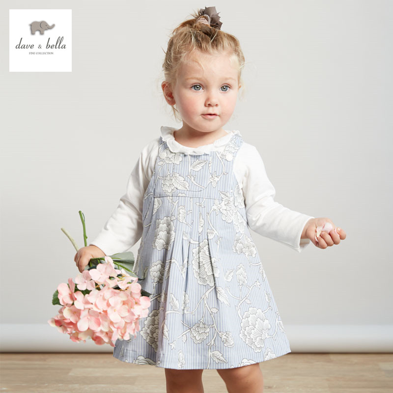 ФОТО DB3273 dave bella spring autumn baby girl sleeveless dress girls overalls dress infant clothes toddle dress fashion outerwear