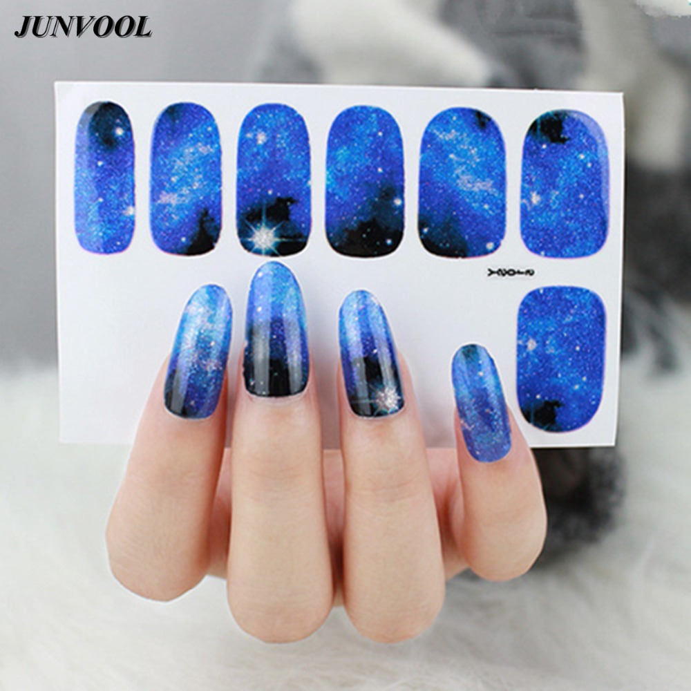 Galaxy Nail Art Transfer Foils Stickers Beauty Glitter Manicure Meteor Shower Nail Sticker Adhesive Polish Wrap Nail Tips Decor