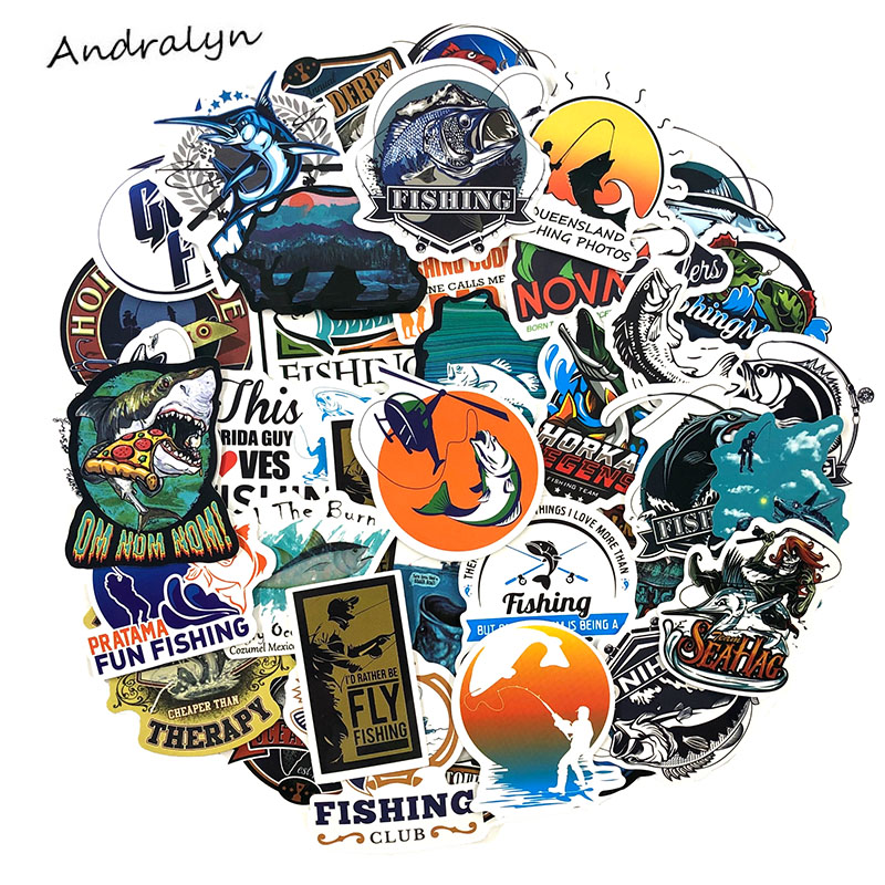 50 Pcs/pack Funny Fisherman Fishing Stickers For Laptop Bicycle Phone Skateboard Motorcycle Wardrobe Luggage Car Toys Sticker
