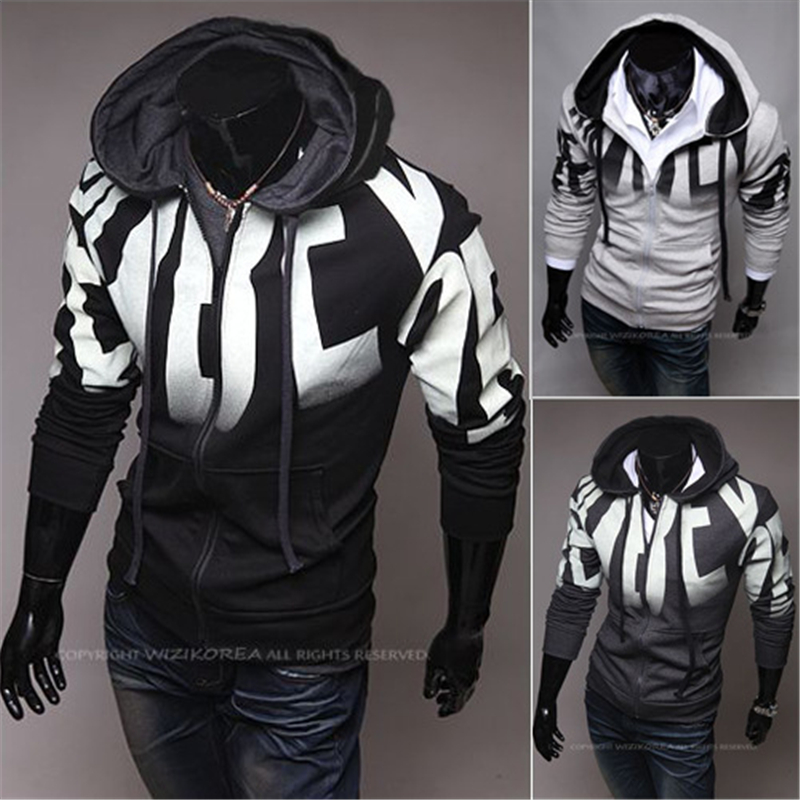2017 Men Hot Sale Autumn Fake Two Layer Zipper Hoodies and Sweatshirt Color Contrast Men Hoody