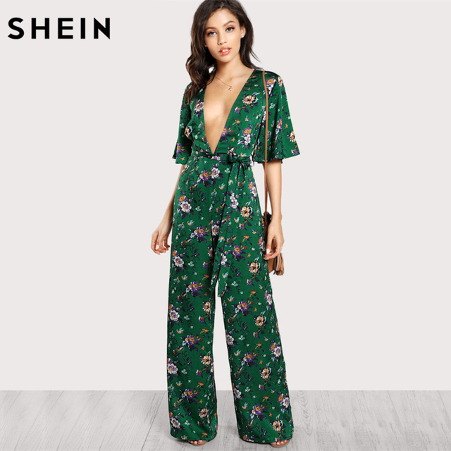 8a34f2a48c3e SHEIN Sexy Jumpsuits for Women Bell Sleeve Plunge Neck Self Belted Palazzo  Jumpsuit Multicolor Half Sleeve