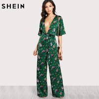 SHEIN Sexy Jumpsuits For Women Bell Sleeve Plunge Neck Self Belted Palazzo Jumpsuit Multicolor Half Sleeve