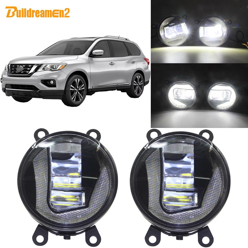 Buildreamen2 pour Nissan Pathfinder R51 2005-2012 voiture 90mm rond projecteur LED ampoule antibrouillard + feux de jour DRL 12V